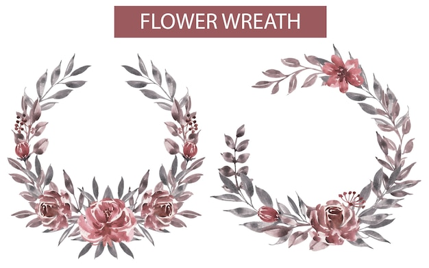 Watercolor flower maroon wreath