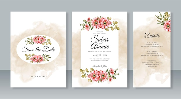 結婚式の招待カード テンプレート セットの水彩画の花の絵