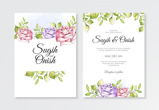 結婚式の招待状テンプレートの水彩画の花の絵