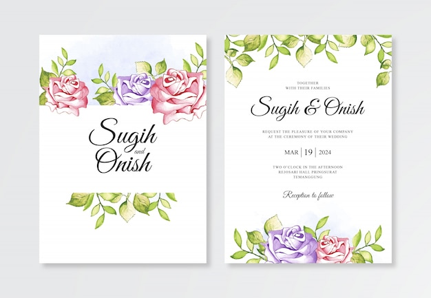 Watercolor flower paintings for wedding invitation templates