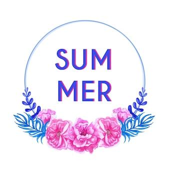 水彩の花ピンクと葉の青のフレーム