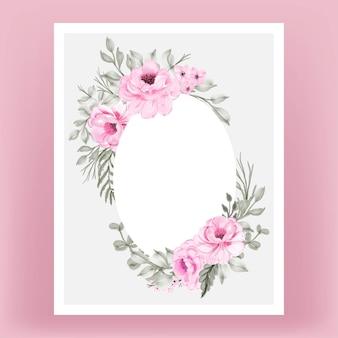 水彩花ピンクと葉フレームの背景