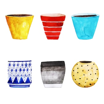 Watercolor Flower Pots Collection