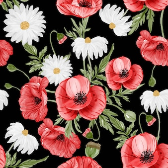 Акварель цветок красный цветок мака и листья бесшовный фон Бесплатные векторы