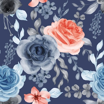Watercolor flower rose orange blue and leaves seamless pattern