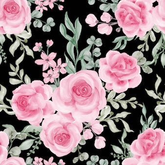 Watercolor flower rose pink and leaves seamless pattern