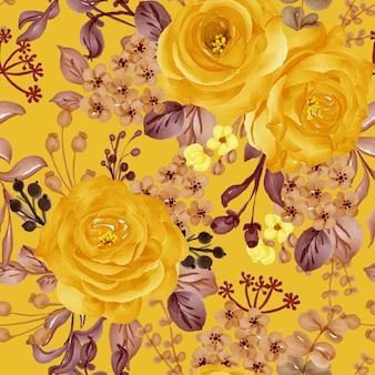 Fiore dell'acquerello rosa gialla e foglie senza cuciture