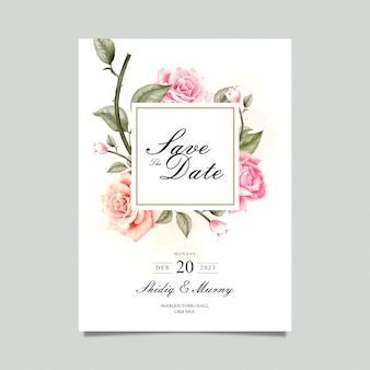 Watercolor flower save the date card