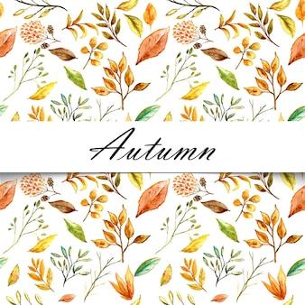 Watercolor flower seamless autumn pattern background elegant texture white background