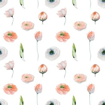 Акварельный цветочный фон из розовых лютиков, полевых цветов и зеленых листьев