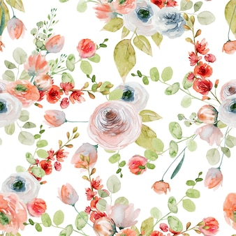 Watercolor flower seamless pattern of pink and white roses, wildflowers and eucalyptus branches