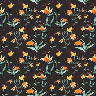 Watercolor flower seamless pattern