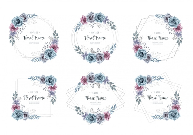 Watercolor flower silver frame collection