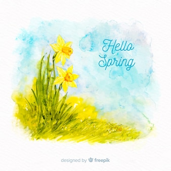 Watercolor flower spring background