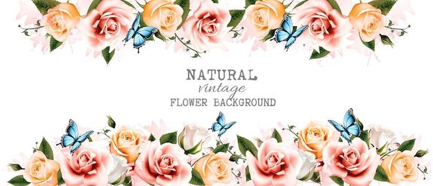 Акварель цветок старинный фон с красивыми розами и бабочками вектор