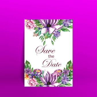 Watercolor flower wedding card with purple background