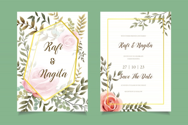 Watercolor flower wedding invitation card template