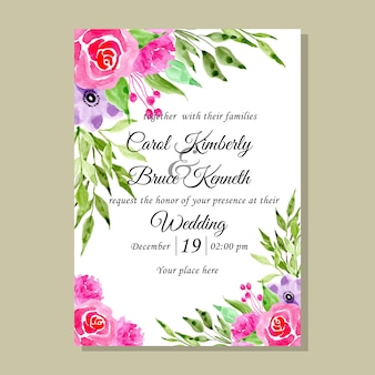 Watercolor flower wedding invitation card