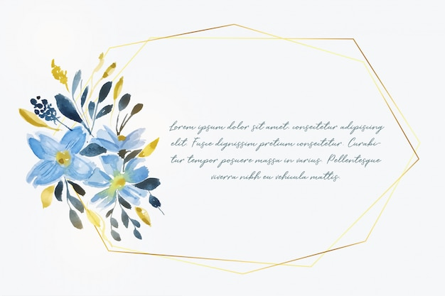 Watercolor flower with golden frame and text space