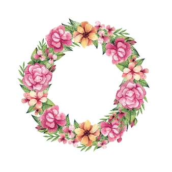 Акварель венок. летняя цветочная рамка с яркими листьями и цветами, ручной обращается акварель.