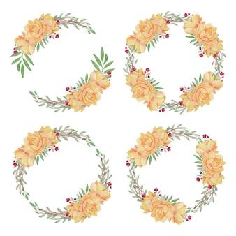 黄色い蓮のイラストと水彩の花の花輪