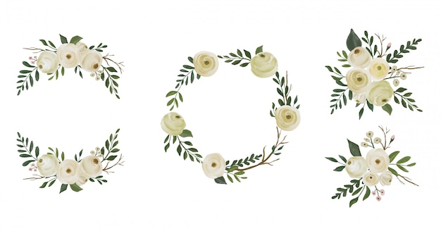 Watercolor flower wreaths collection set