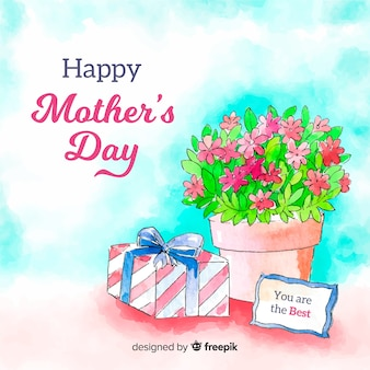 Watercolor flowerpot mother's day background