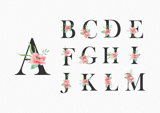 Watercolor flowers on alphabet a to m template