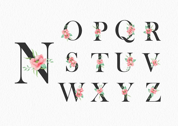 Watercolor flowers on alphabet n to z template