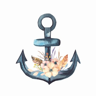 Watercolor flowers and anchor.