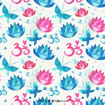 수채화 꽃과 나비 패턴