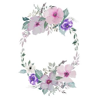 수채화 꽃과 녹색 잎 타원형 화환