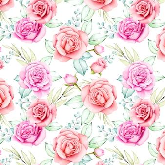 Акварельные цветы и листья бесшовные модели