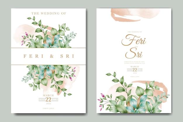 Акварель цветы и листья шаблон свадебного приглашения