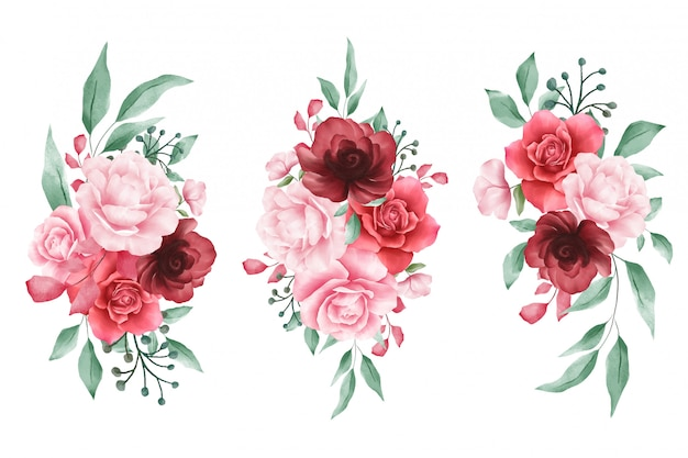 Watercolor flowers arrangements for wedding or greeting cards elements