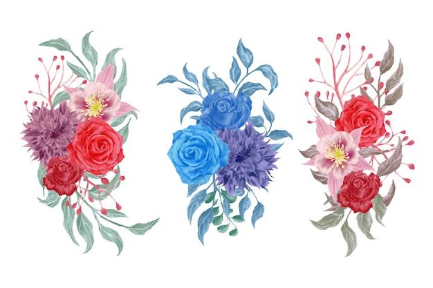 Watercolor flowers arrangements wedding greeting cards elements