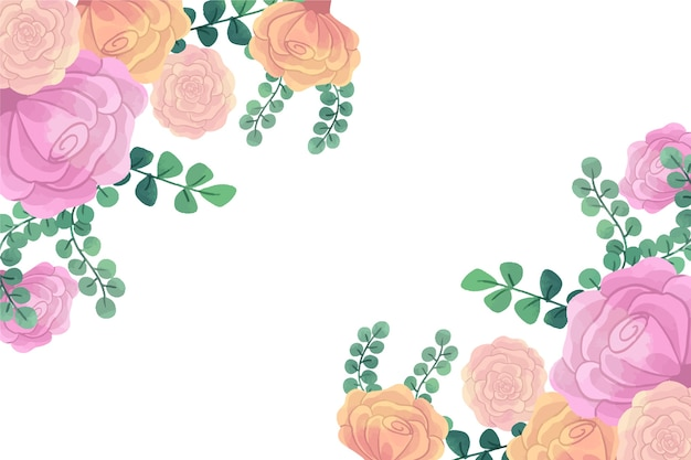 Fiori dell'acquerello per il concetto del fondo nei colori pastelli
