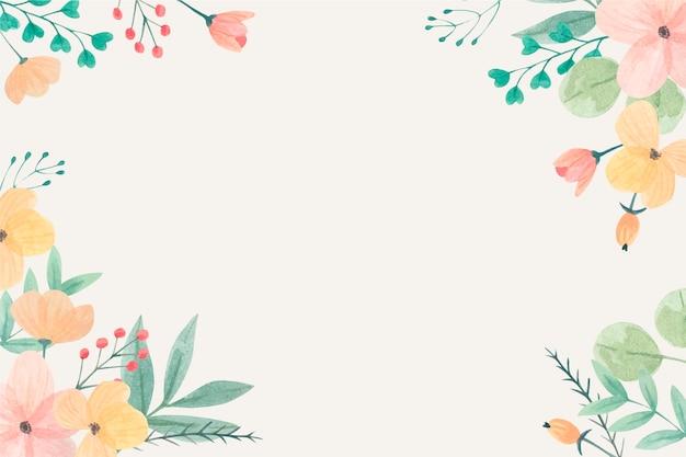 파스텔 색상의 수채화 꽃 배경