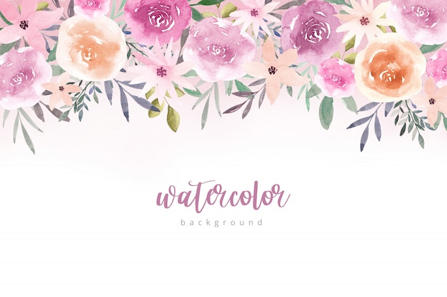 Watercolor flowers background in pastel colors.