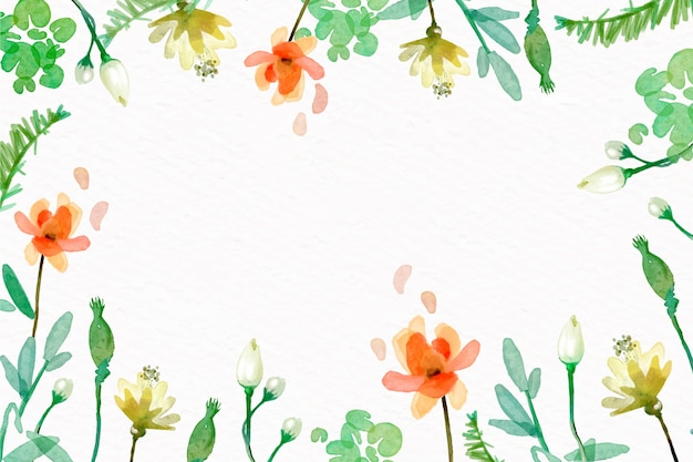 Watercolor flowers background in pastel colors