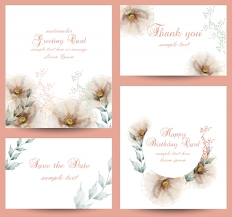 Watercolor flowers blossom card collection