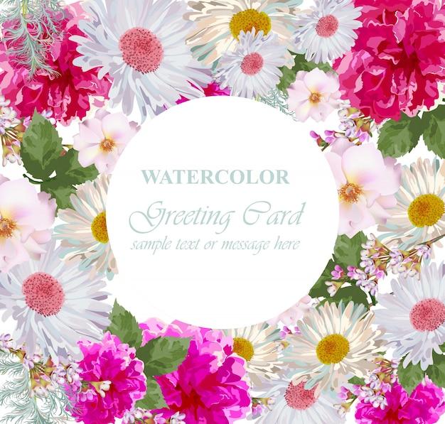 水彩花の花のカード。ヴィンテージカラフルな挨拶状