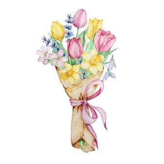 튤립, 수선화, 스노드롭이 있는 종이 포장지에 수채화 꽃, 꽃다발.