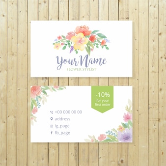 Watercolor flowers business card template