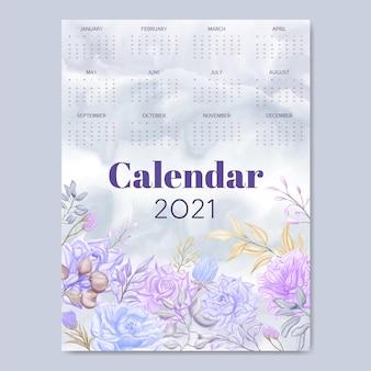 Watercolor flowers calendar 2021 template