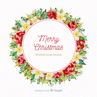 Watercolor flowers christmas wreath background