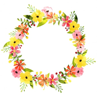 Watercolor flowers decorated circular frame.