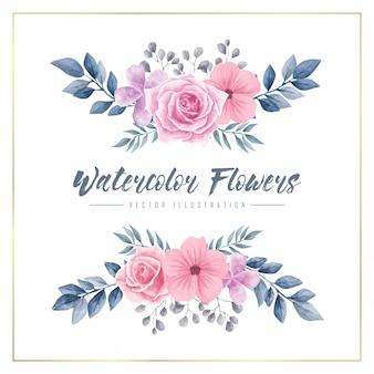 Watercolor flowers floral frame vector illustration