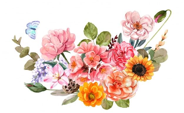 수채화 꽃. 꽃 그림, 잎, 식물원 구성