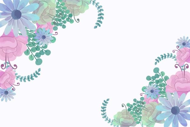 パステルカラーの壁紙の水彩花